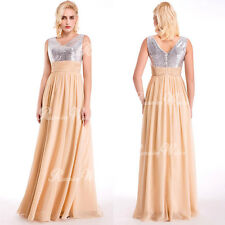 Women V Neck Formal Wedding Evening Ball Gown Party Prom Bridesmaid Maxi Dress