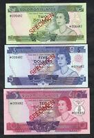 Solomon Islands P-CS1. (1979) 2,5,& 10 Dollars - SPECIMEN Set.. Red O/Print  UNC