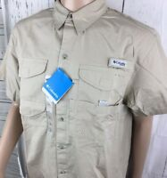 Columbia Shirt Vented Bonehead PFG Short Sleeve Button Front Fishing Men L NWT