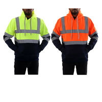 Mens 2 Tone Hi Vis Pullover Hoodies Safety Fleece Reflective Work Tops Jumpers