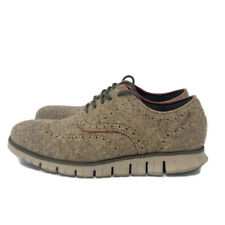 🔴 Cole Haan ZeroGrand Wingtip Wool Dress Shoe Men's Size 11W Brown Cobblestone