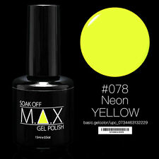 MAX 15ml Soak Off Gel Polonais Nail Art UV LED Couleur # 078 - Neon Yellow