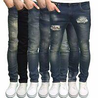 Soulstar Mens Designer Branded Slim Fit Ripped Abraised Stretch Jeans, BNWT