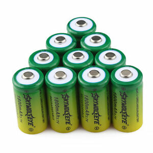 10pcs SKYWOLFEYE 16340 3.7V 1800mAh Rechargeable Li-Ion Battery Cell Batteries
