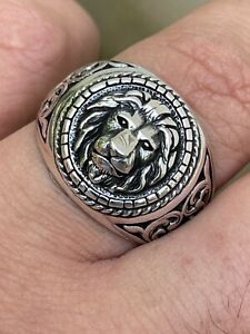 Real 925 Sterling Silver Mens Plain Lion Ring Leo Head Size 7 8 9 10 11 12 13