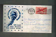 1943 USA Patriotic Cover Ithaca NY to Clemson College SC We WIll Win for Victory