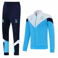 Marseille Sky-blue Mens Soccer Sports Jersey Jacket Tracksuit Tops&Pants Sets