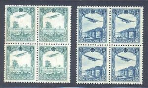 Manchukuo 1937 Beautiful Airmail Stamp (2v Cpt, Block of 4) MNG