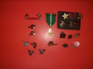 BOY SCOUT PIN COLLECTION TWENTY PIECES + (2) PEWTER BSA FIGURINES