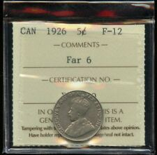 1926 Canada 5 cents Nickel Far 6 Variety - ICCS F-12