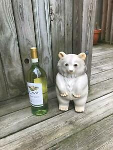 "12.5"" Vintage Standing White Bear BANK Brown Eyes Claws Paws Woods Polar Cub"