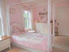 Aspace single four poster white wooden bed