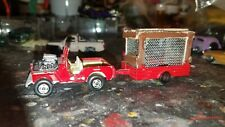 1/64 Scale Matchbox/Lesney Hot Rod Jeep With Custom Trailer With Caged Lion
