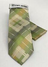 Stacy Adams Men's Tie Hanky Set Lime Green Ivory Gold & Gray Plaids Checks