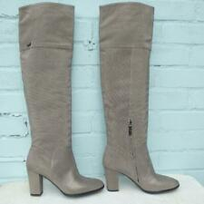 MARIO CERUTTI Leather Boots UK 6.5 E 39.5 Women Silver studs Pull on Thigh High