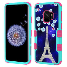 3-Layer Phone Case (Teal/Pink) for Samsung Galaxy S9 - Eiffel Tower St