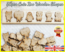 50 Wooden Cute Zoo Animals Craft Scrapbooking Wood gift Embellishment Card