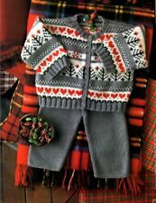 Knitting Pattern for Baby's  4 Ply Heart Themed Cardigan & Trouser set (131)