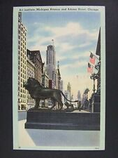 Chicago Illinois IL Art Institute Michigan Ave Adams Street Linen Postcard 1944