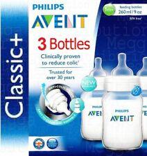 3 x Philips AVENT 260ml 9oz Anti-Colic Baby Feeding Bottle CLASSIC+ Range SCF563