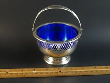 Vintage Wallace Sterling Silver Sugar Basket Swing Handle Cobalt Insert 4491-3