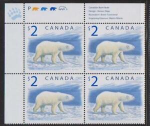 1998 Canada SC# 1690 UL - Wildlife Polar Bear - Plate Block M-NH Lot # 3422a