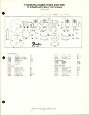 MISC-2020 1980s FENDER MA4 MIXER POWER AMP PARTS LIST & SPECIFICATIONS