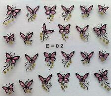Nail Art 3D Glitter Decal Stickers Glittery Butterflies E02/BLE840D