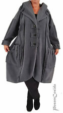 LAGENLOOK Fleece Mantel Long Jacke grau  L-XL-XXL-XXXL 44 46 48 50 52 54 56 58