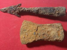 Collection of ancient weapons. Ancient battle axe & lance
