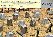 Für Diorama Nr.1255B Strandhindernisse 12 Beton/Panzersperren 1:72 Resin