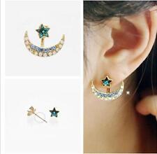 1pair Korean Styles Mini Women Golden Tone Moon Star Crystal Stud Earrings Gift