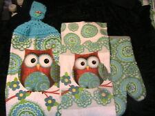 OWLS #G~LOT OF 4~OVEN MITT~2 DISH CLOTHS~1 CROCHET TOP OWL button HANGING TOWEL