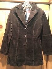 New Women's PRONT Rancher Genuine Suede Leather Brown Coat Jacket Sz Large