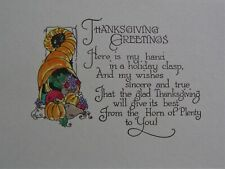 Vintage Engraved / Hand Painted Thanksgiving Horn of Plenty Greeting Card Unused