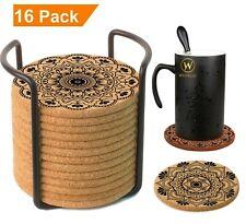 Mandala Cork Coasters Absorbent for Drinks with Holder Premium Set 16 pcs.