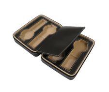 Luxury Genuine leather travel watch case black display roll storage 4 watches