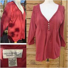DENIM& SUPPLY RALPH LAUREN Ladies Coral Orange Top 3/4 Sleeve Blouse XL UK 14