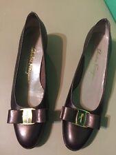 Salvatore Ferragamo womens 7.5 AA low heel Bronze Pump