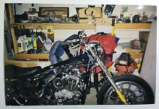 Vintage PHOTO Of A Custom Harley Davidson Motorcycle With No Gas Tank For Winter