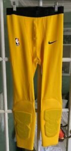 MEN NIKE NBA PRO HYPERSTRONG PADDED TIGHTS PANTS 3/4 YELLOW COMFORT SIZE XL-TALL