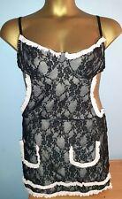 Women's black & pink maid dress up dress, size 18, Ann Summers