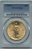 1909 S $20 Saint Gold PCGS MS 64 Super Eye Appeal & Luster Better Branch Gold