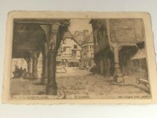 More details for etching postcard rue des cordeliers  dinan france signed herry 1920s