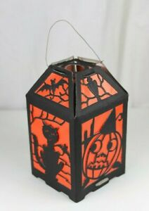 Vintage Halloween Diecut Paper Four Sided Lantern with Door