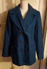 New Womens Merona Blue Lined Wool Blend Peacoat Coat Jacket Size L Large