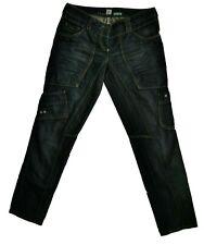 River Island Safari Slouch Denim Jeans Fit Cargo Utility Blue Dark Wash UK 10