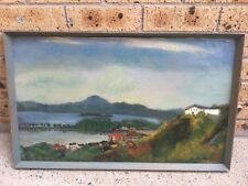 ORIGINAL ANTIQUE JAPANESE PAINTING OF A JAPANESE ISLAND - OIL ON CANVAS ON BOARD