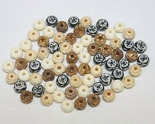 Hand Crafted Bone Beads - 8mm Carved Beads - 3-4 Colors - Total 72 Beads / Pack