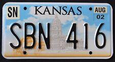 "KANSAS "" STATE CAPITOL - WHEAT - SBN 416 "" 2002 KS Graphic License Plate"